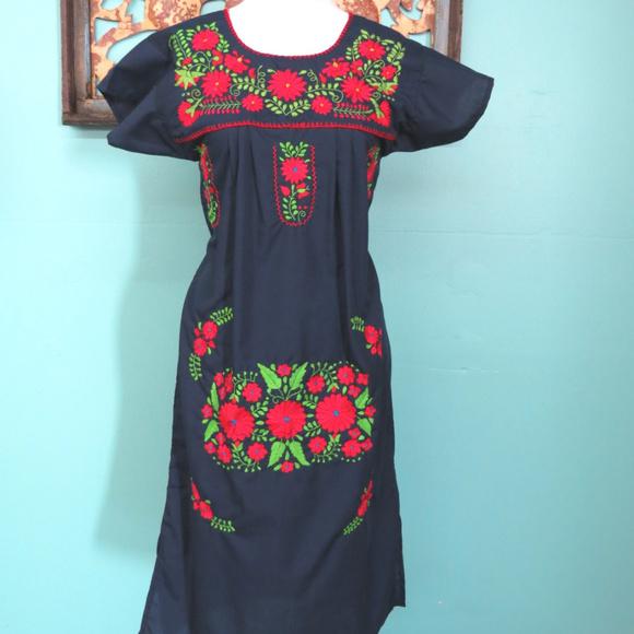 599862288 Leos Imports Dresses   Mexican Dress Puebla Navy Blue Wred Sz Small ...